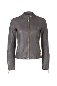 Charcoal Leather Jacket by DOMA