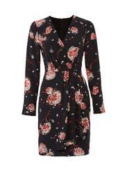 Black Floral Drape Dress by Slate & Willow