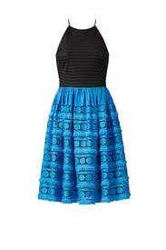 Blue Colorblock Eyelet Dress by Badgley Mischka