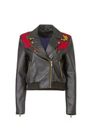 Embroidered Vegan Moto Jacket by Free People