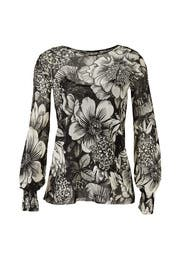 Floral Smocked Cuff Top by Fuzzi