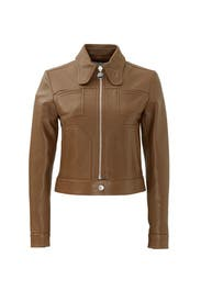 Brown Pilot Leather Jacket by Carven