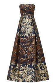 Bronze Jacquard Gown by Aidan Mattox
