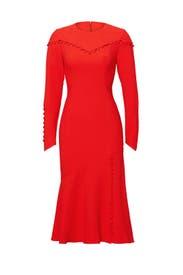 Cherry Red Button-Up Dress by Prabal Gurung