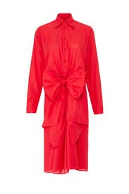 Red Bow Front Shirtdress by Tome