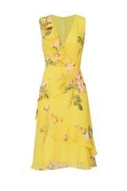 Yellow Ruffle Dress by Adrianna Papell