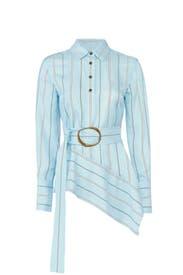 Striped Asymmetrical Shirt by Derek Lam 10 Crosby