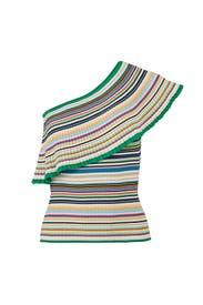 Rainbow Stripe Knit Top by Milly