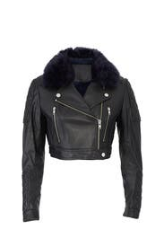 Faux Fur Cropped Leather Jacket by Samantha Sipos