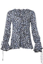 Blue Leopard Print Blouse by Derek Lam 10 Crosby