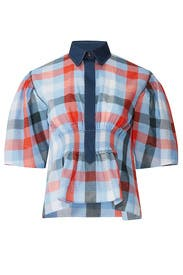 Plaid Smocked Waist Blouse by Cedric Charlier