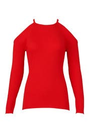 Red Ribbed Sweater by Trina Turk