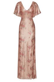 Blush Floral Sequin Gown by Marchesa Notte