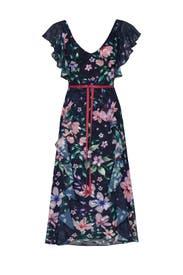 Floral Flutter Sleeve Dress by Marchesa Notte