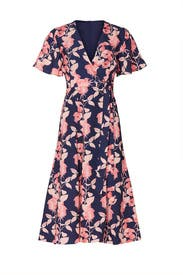 Pink Floral Flutter Sleeve Dress by Slate & Willow