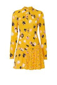 Floral Twist Neck Mini Dress by Self-portrait