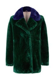 Colorblock Faux Fur Coat by PINKO