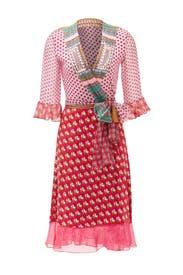 Pink Nieves Wrap Dress by Diane von Furstenberg