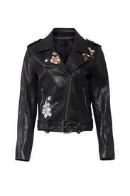 Embroidered Faux Leather Jacket by J.O.A.