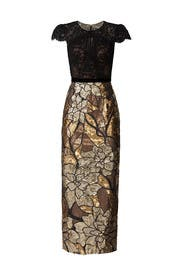Gold Artwork Sequin Gown by Marchesa Notte