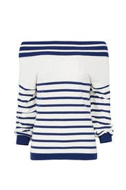 Striped Off Shoulder Sweater by Fuzzi