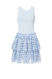 Blue Tiered Eyelet Dress by Antonio Berardi