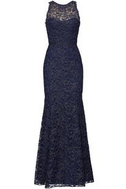 Navy Metallic Lace Gown by Marchesa Notte
