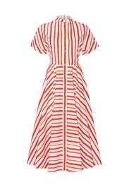 Collarless Striped Midi Dress by Martin Grant