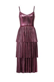 Lilac Pleated Lame Dress by Marchesa Notte