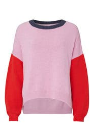 Red and Pink Colorblock Sweater by 525 America
