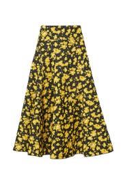 Yellow Flare Midi Skirt by DEREK LAM