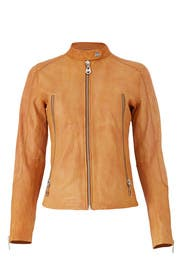 Camel Leather Jacket by DOMA