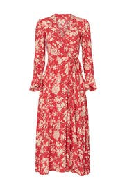 Red Floral Printed Wrap Dress by Polo Ralph Lauren