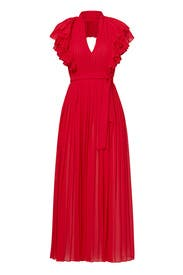 Red Flamenco Ruffle Halter Gown by Philosophy di Lorenzo Serafini