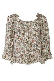 Printed Ruffle Blouse by Tory Burch