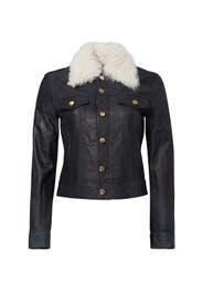 Indigo Shearling Collar Leather Jacket by Derek Lam 10 Crosby