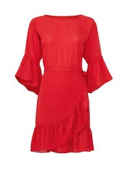Astrid Red Apron Wrap Dress by B Collection by Bobeau