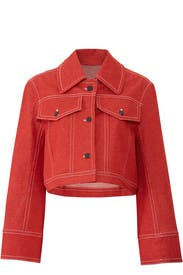 Red Cropped Denim Jacket by Colovos
