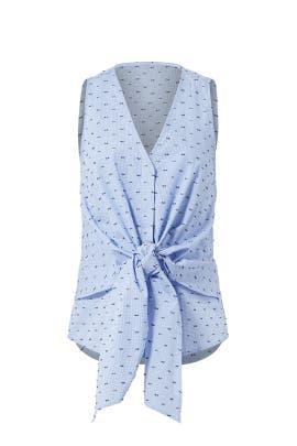Blue Printed Tie Top by Derek Lam 10 Crosby