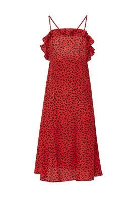 Leopard Long Red Silk Dress by The Kooples