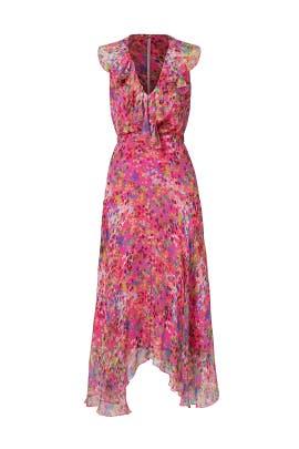 Pink Floral Ruffle Midi Dress by SALONI