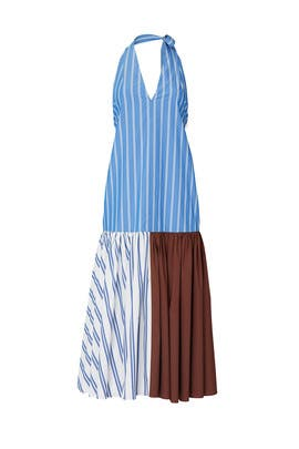 Vivian Stripe Halter Dress by Tibi