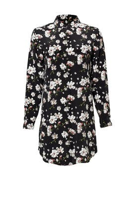 Dark Floral Slim Signature Silk Dress by Equipment