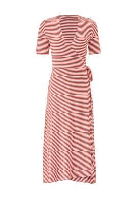 Red Stripe Wrap Dress by 525 America