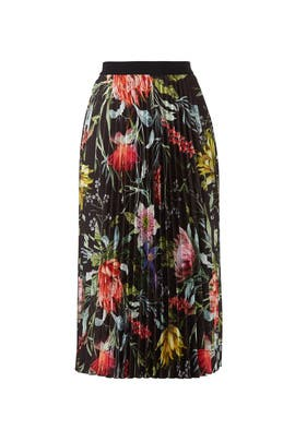 Black Floral Pleated Skirt by Fuzzi
