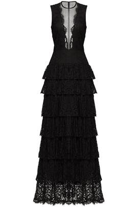 Nicole Miller Black Lace Illusion Gown