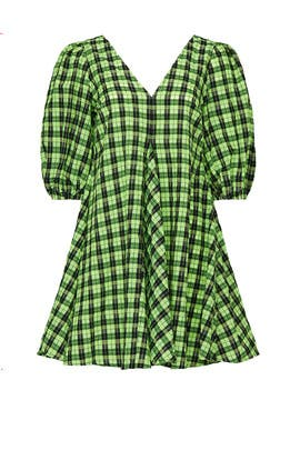 Green Printed Check Dress by GANNI