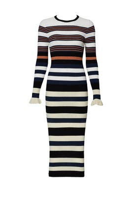 Harvest White Striped Dress by Opening Ceremony