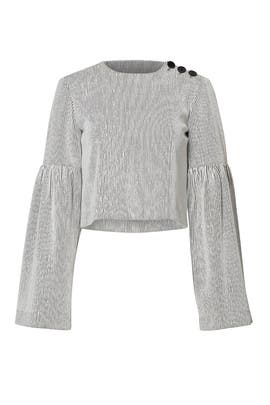 Striped Crinkle Bell Sleeve Top by Tibi