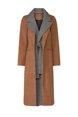 Camel Houndstooth Coat by Badgley Mischka